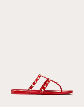 Valentino Rockstud Flat Rubber Sandal Women Rouge Pur Pvc - Polyvinyl Chloride 100% 35
