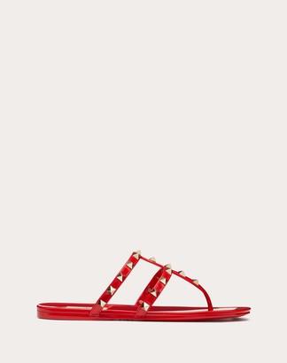 Valentino Rockstud Flat Rubber Sandal Women Rouge Pur Pvc - Polyvinyl Chloride 100% 36