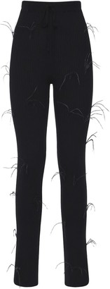 Marques Almeida Flared Ribbed Knit Pants W/ Feathers