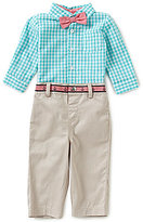 Edgehill Collection Baby Boys Newborn-24 Months Gingham Shirt & Twill Pants Set