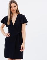 Warehouse Frill Sleeve Wrap Dress
