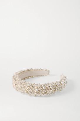 Jennifer Behr Bailey Faux Pearl-embellished Satin Headband - Ivory