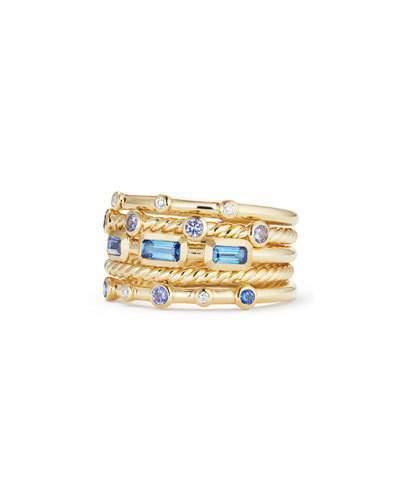 David Yurman Novella 18k Multi-Stack Ring, Diamond/Sapphire, Size 6