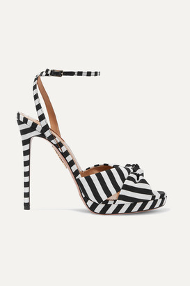 Aquazzura Chance 115 Striped Faille Sandals - Black