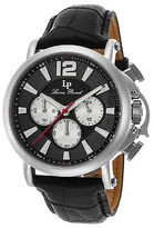 Lucien Piccard 40018C-01 Men's Triomf Chrono Black Genuine and Dial SS
