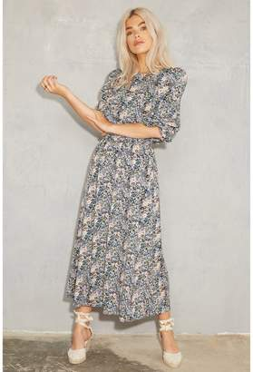Never Fully Dressed Three-Quarter Sleeve Floral Maxi Dress