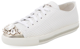 Miu Miu Embellished Cap-Toe Leather Sneaker