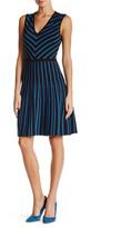 Anne Klein V-Neck Fit & Flare Sweater Dress