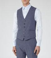 Reiss Reiss Trion W - Tonal Weave Waistcoat In Blue