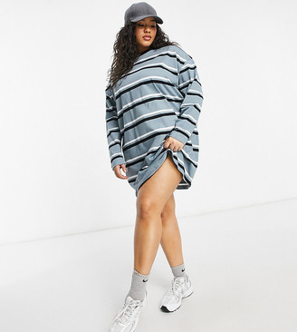 ASOS DESIGN Curve oversized long sleeve t-shirt dress in dusty blue black and white stripe