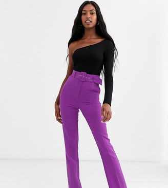 Asos Tall DESIGN Tall pop purple slim kick flare trousers with covered belt