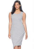 ELOQUII Plus Size Sleeveless Asymmetrical Textured Dress