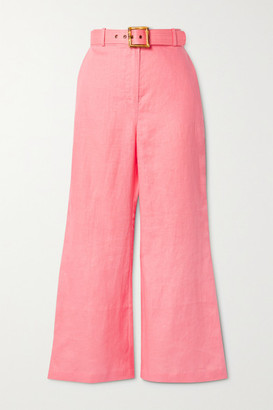 Zimmermann Poppy Belted Cropped Linen Wide-leg Pants - Pink