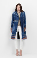 Nicole Miller Embroidered Panama Denim Trench