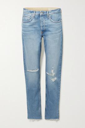 rag & bone - Rosa Distressed Mid-rise Straight-leg Jeans - Light denim