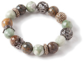 Lori's Shoes Stone Bead Stretch Bracelet with Crystal Crowns