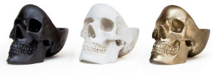 Suck UK Skull Desk Tidy - White - White/Black/Gold