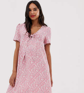Glamorous Bloom short sleeve mini dress with tie front in ditsy floral-Pink