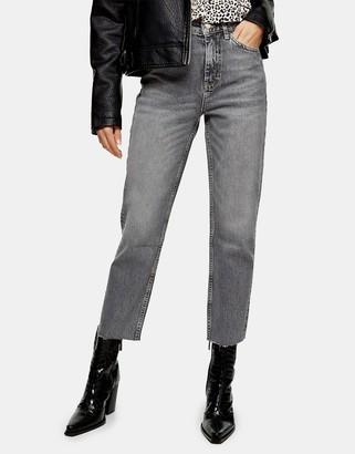 Topshop straight leg rip-hem jeans in grey