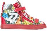 Giuseppe Zanotti Design cartoon print hi-top sneakers