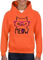 Xekia Meow Cute Pets Cat w Pink Eyeglasses Hoodie For Girls and Boys Youth Kids