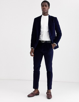 Selected velvet suit trousers in navy