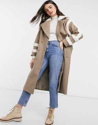 Fashion Union trench coat with shearling details