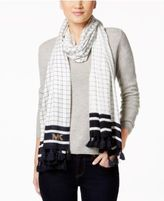 MICHAEL Michael Kors Windowpane Tassel Oblong Scarf