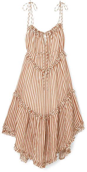 Zimmermann Exclusive Lumino Asymmetric Ruffled Striped Linen Midi Dress - Tan