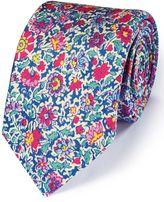 Charles Tyrwhitt Pink Multi Cotton Mix Printed Floral Italian Luxury Tie