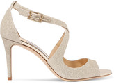 Jimmy Choo Emily Glittered Leather Sandals - Platinum