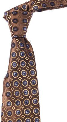 Isaia Brown & Gold Medallion Silk Tie