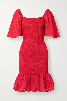Marysia Swim Smocked Perforated Cotton Mini Dress - Red