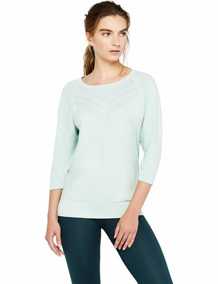 Aurique Amazon Brand Women's Seamless Three Quarter Sleeve Sports Top