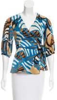 Tibi Abstract Print Silk Top