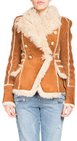 Balmain Shearling Fur Double-Breasted Coat