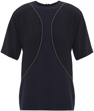Marni Embroidered Two-tone Satin And Crepe De Chine Top