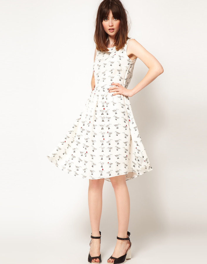 Asos The Rodnik Band Dress with Seagul Print