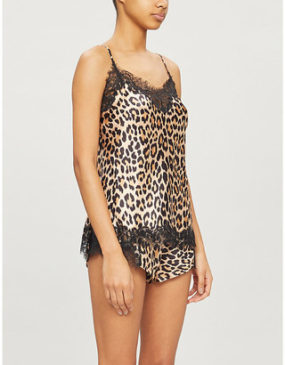 Selfridges Scarlett floral-lace trim pyjama silk-satin shorts