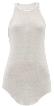 Rick Owens Racer-back Ribbed-knit Tank Top - Womens - White