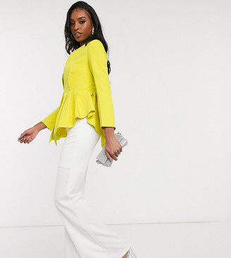 Club L London Tall collar detail peplum blazer in lime