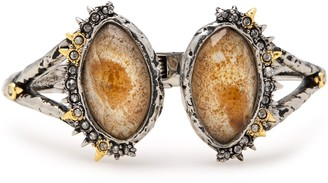 Alexis Bittar Hammered Silver-tone, Crystal And Stone Cuff