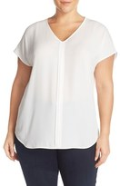 Sejour Plus Size Women's Pleat Front Short Sleeve Top