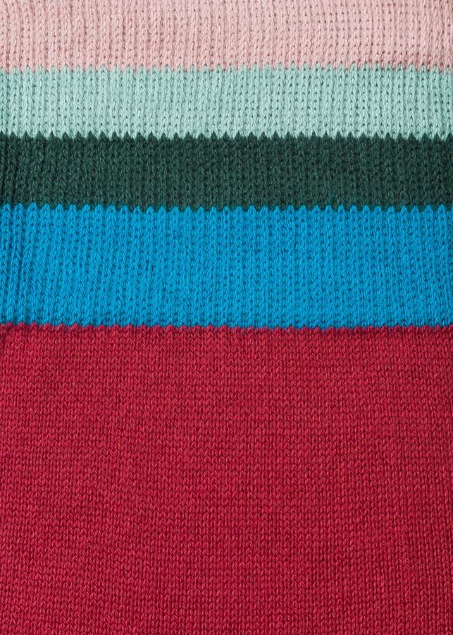 Thumbnail for your product : Paul Smith Men's Burgundy 'Artist Stripe' Cuff Socks