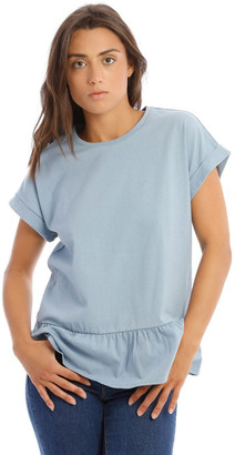 Grab Washed Blue Relaxed Peplum Tee