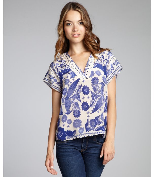 Rebecca Minkoff indigo blue avian print silk 'Sage' short sleeve top