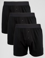 Asos Jersey Boxers In Black With Deep Waistband 3 Pack