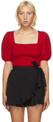 RED Valentino Red Balloon Sleeve Sweater