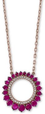 "Effy Certified Ruby (3/4 ct. t.w.) & Diamond (1/10 ct. t.w.) 18"" Pendant Necklace in 14k Rose Gold"