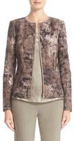 Lafayette 148 New York 'Maris' Zip Front Collarless Jacket